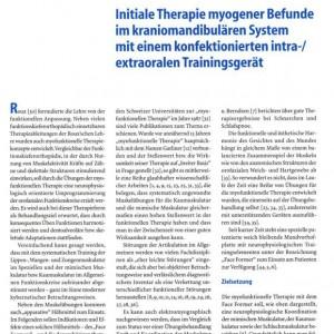 Artikelvorschau: Initiale Therapie myogener Befunde im kraniomandibulären System